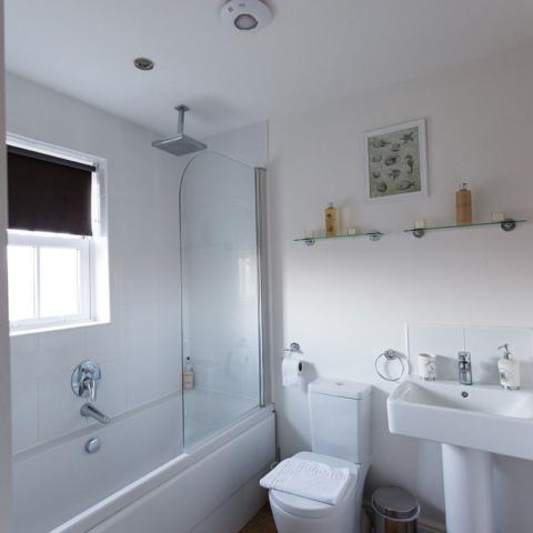 Meadowside House Family Bathroom with bath and overhead rainfall shower